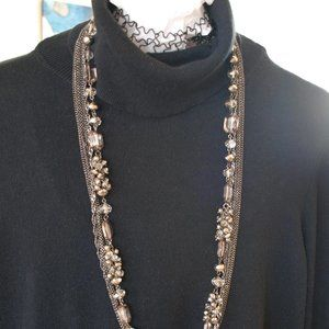 Black and clear Crystals with Chain